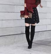 skirt,tumblr,mini skirt,lace up,lace up skirt,black skirt,boots,black boots,over the knee boots,thigh high boots,bag,pouch,top,burgundy,bell sleeves