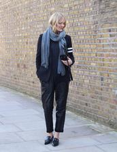 blame it on fashion,blogger,scarf,leather pants,grey scarf,blazer,black pants,pants,shoes,jacket,bag