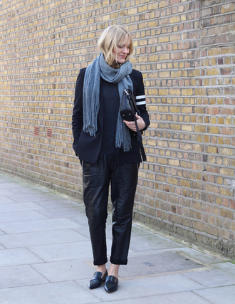 blame it on fashion blogger scarf leather pants grey scarf blazer black pants pants shoes jacket bag