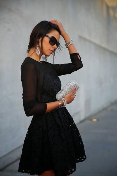 dress bag christmas dress earrings sunglasses black sunglasses bracelets silver bracelet jewels jewelry silver jewelry mini dress a line dress long sleeves metallic clutch clutch bachelorette party outfits black short midi black dress midi dress crochet mech