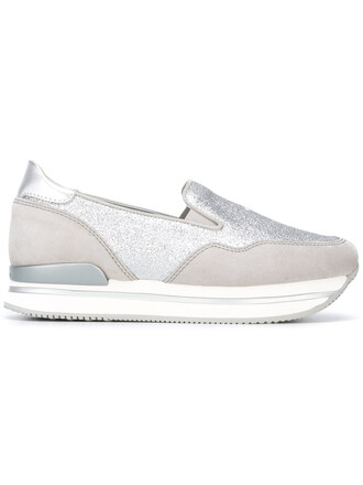 glitter women sneakers leather grey shoes
