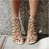 shoes,sandals,nude,strappy sandals,sandal heels,open toes,velvet,lace up heels,stilettos