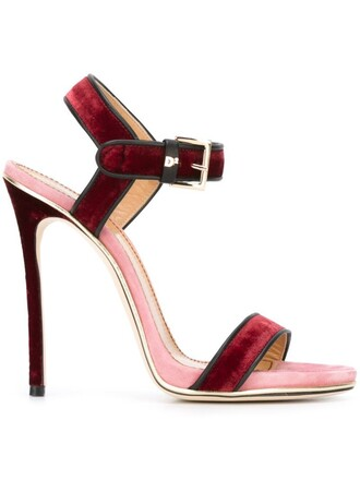sandals velvet purple pink shoes