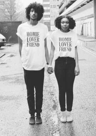 shirt jeans high waisted jeans shoes t-shirt vintage 70s style white t-shirt matching couples black couple matching shirts old school african american tumblr pinterest instagram hipster black and white writing homies tshirt design fashion style