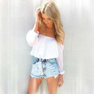 top off the shoulder white top denim shorts cute top girly cute outfit