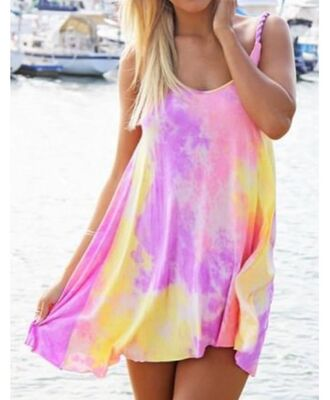 pastel tie dye tie dye dress lilac summer dress yellow dress pink dress pastel dress dress pink yellow neon summer beach rainbow fashion style purple colorful outfit