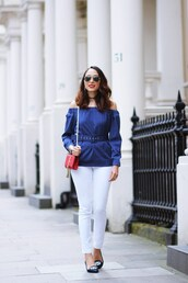 preppy fashionist,blogger,shoes,sunglasses,blouse,jeans,bag,off the shoulder,blue top,red bag,yves saint laurent,mini bag,white pants,black flats,striped off shoulder top,blue off shoulder top,belted top,ysl,ysl bag,shoulder bag,off the shoulder top,aviator sunglasses,black choker,choker necklace,necklace,jewels,white jeans,embellished,pointed flats,flats,spring outfits