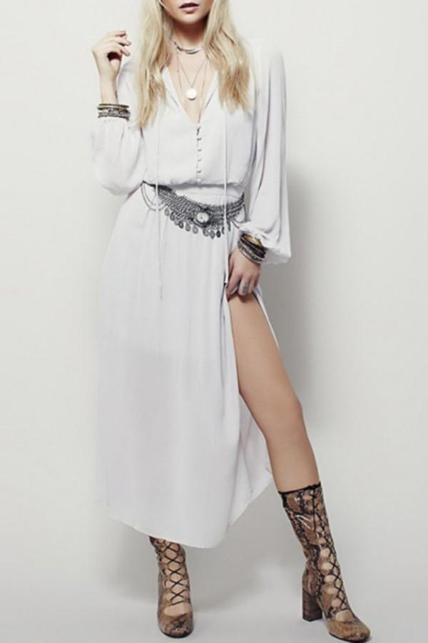 dress beautiful halo boho boho dress style casual fashion maxi dress white dress streetstyle streetwear summer long sleeved maxi dress