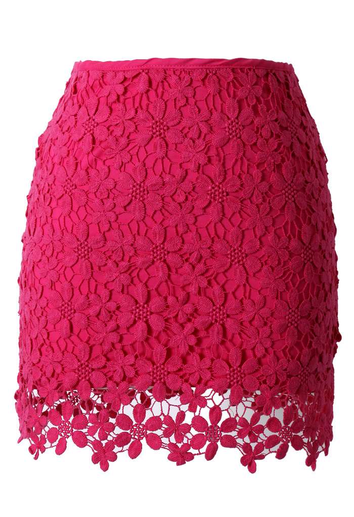 Lace Crochet Bud Skirt in Hot Pink - Retro, Indie and Unique Fashion