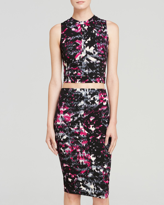 AQUA Top - Textured Sleeveless Zip Back Crop | Bloomingdale's