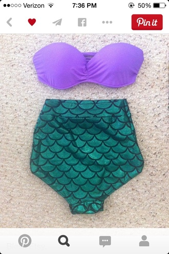 swimwear high waisted bikini mermaid purple swimwear green swimwear
