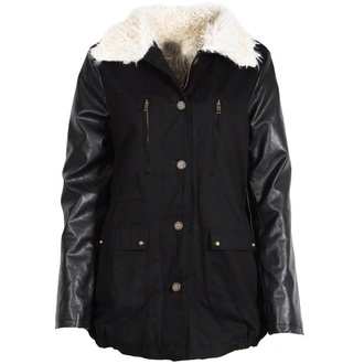 coat black parka fur collar fur collar jacket winter outfits
