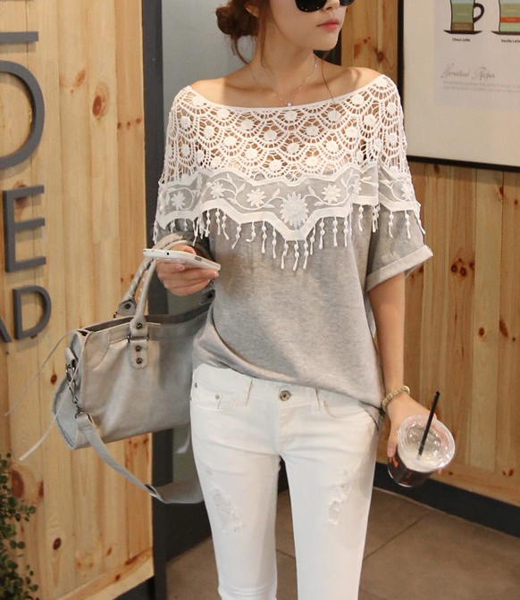 2014 sweet lace cutout shirt women handmade crochet cape collar batwing sleeve blouse medium long t shirt female-inT-Shirts from Apparel & Accessories on Aliexpress.com