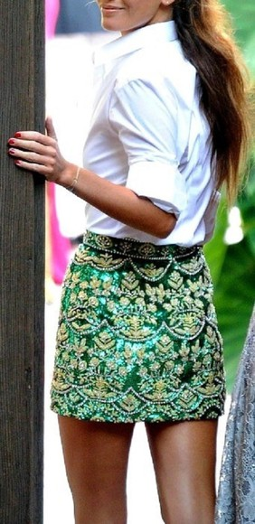 embellished classy skirt tumblr emerald skirt emerald bejeweled