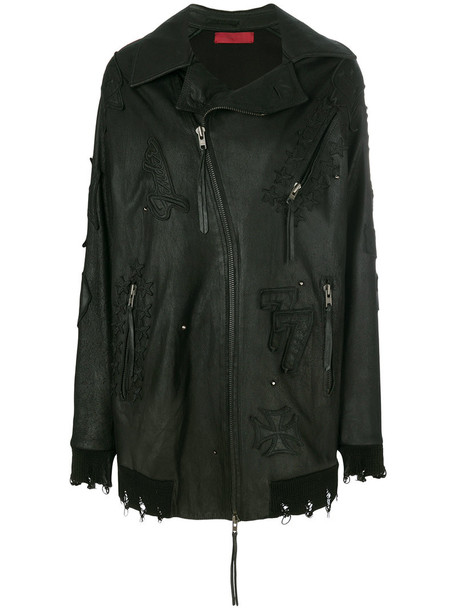 Di Liborio jacket oversized women leather black wool