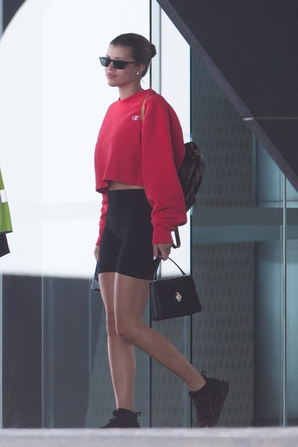 sweater shorts sofia richie celebrity red red sweater