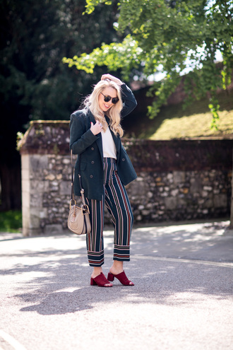 pants coat office outfits tumblr stripes striped pants shoes red shoes mules fall outfits bag british fashion blog - mediamarmalade blogger
