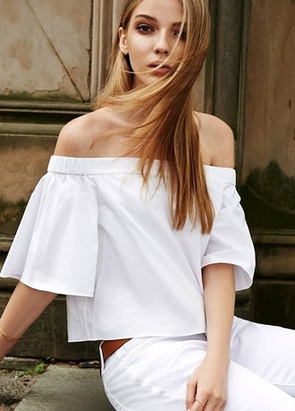 blouse off the shoulder top white top peasant top top white dressy top dressy strapless off the shoulder casual clothes