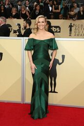 dress,gown,off the shoulder,off the shoulder dress,reese witherspoon,red carpet dress,sag awards,emerald green