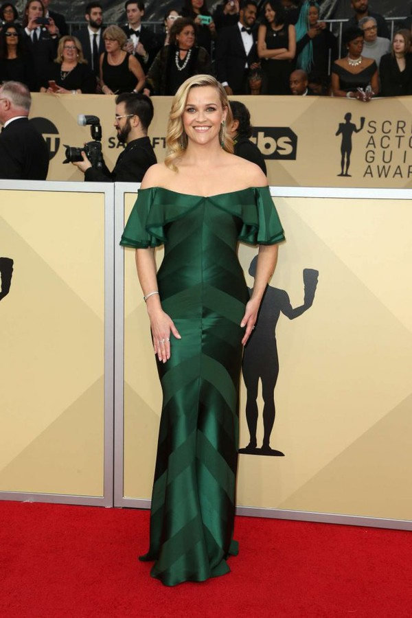 dress gown off the shoulder off the shoulder dress reese witherspoon red carpet dress sag awards emerald green