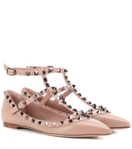 Valentino Rockstud Leather Ballerinas in neutrals