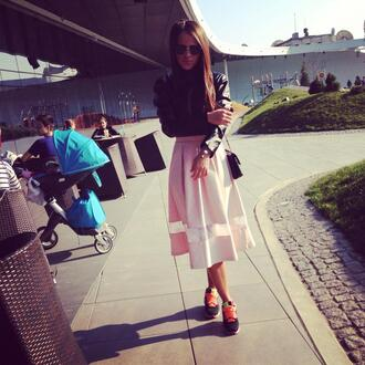 skirt pink skirt shoes
