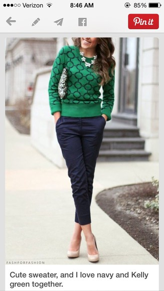 green sweater sweater jewels pants bag
