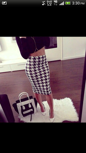 pencil skirt,houndstooth,skirt