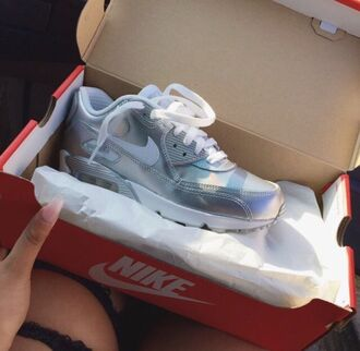 shoes nike trainers air max silver nike air nike air max 90 shiney grey nike shoe nike women air max nike air force white dope sneakers metallic