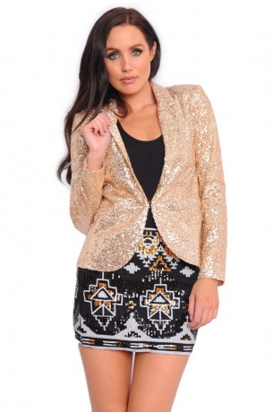 Sabrina Sequin Blazer in Gold