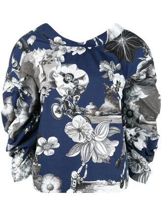 blouse women floral cotton print blue top