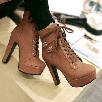 shoes lace up brown high heels trendy women's high heel boots with buckles and solid color design cool fall outfits buckles cute