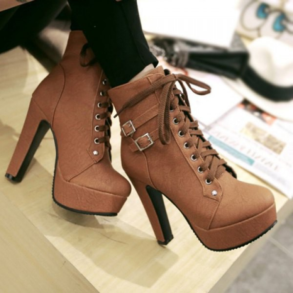 Shoes Lace Up Brown High Heels Trendy Womens High