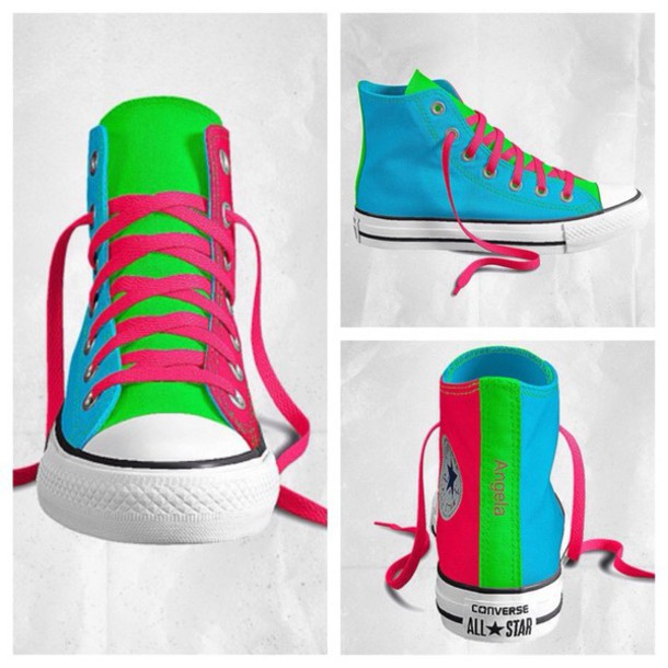 online store 5e50a 42247 ... top quality shoes neon blue green pink converse 13a64 dd42a