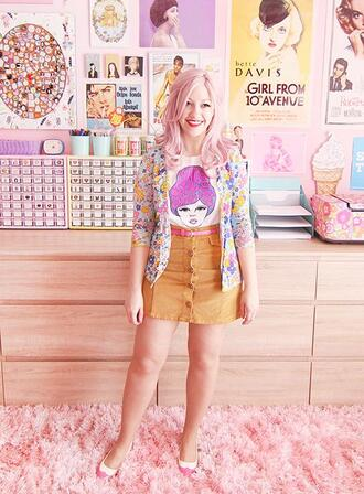 scathingly brilliant blogger shirt cardigan belt skirt shoes button up skirt ballet flats pink hair