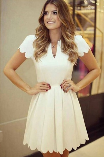 Dress: skater, white dress, sexy dress, chic, cute, cocktail dress ...