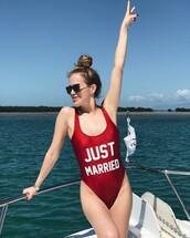 swimwear,tumblr,one piece swimsuit,red swimwear,quote on it,just married,sunglasses,black sunglasses
