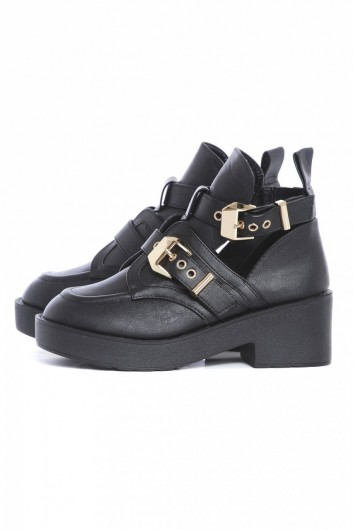 Cut Out Side Buckle Boots