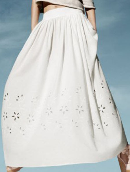 White Eyelet Flower Embroidery Pleated Maxi Skirt - Sheinside.com