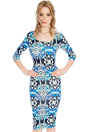 Three Quarter Sleeve Aztec Midi Dress