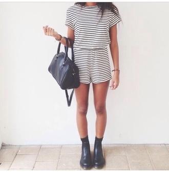 t-shirt striped shirt striped shorts black white jumpsuit