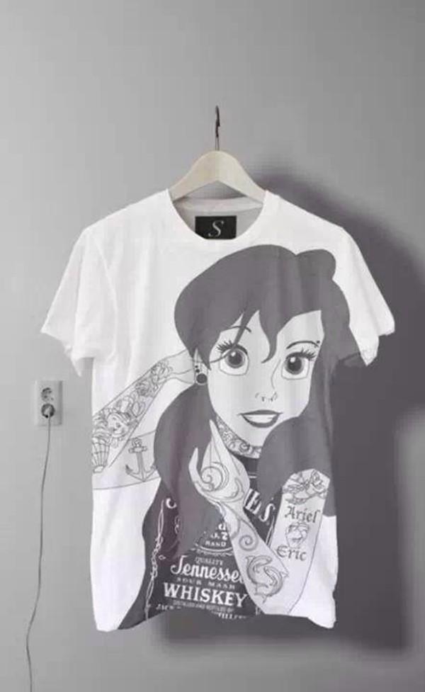 shirt the little mermaid punk rock princess disney disney princess the little mermaid black white crop tops t-shirt band t-shirt