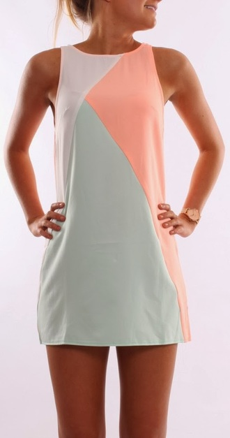 green short triangle sleeveless colorblock dress