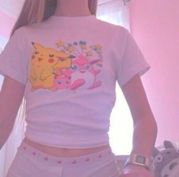 Shirt Pokemon Crop Tops Hot Site Model Pale Grunge Fashion Girly Style Tumblr Tumblr