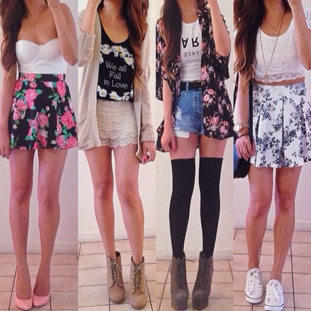 skirt floral floral tank top graphic tee shorts four outfits cute summer time summer outfits crop tops tank top lase shoes dress shirt sweater blouse jacket jeans High waisted shorts tights earphones bag top cardigan t-shirt socks where to buy it from? graphic crop tops over the knee socks navy thigh high socks floral romper