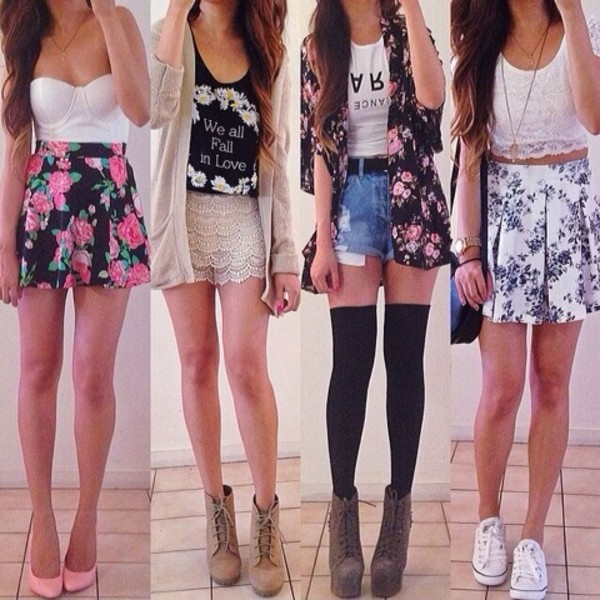 skirt floral floral tank top graphic tee shorts four outfits cute summer time summer outfits crop tops tank top lase shoes dress shirt sweater blouse jacket top