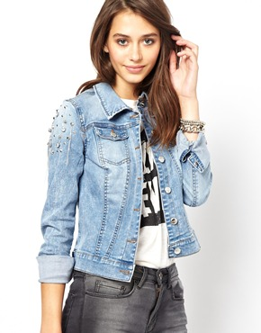 Only | Only Denim Jacket With Stud Sleeves at ASOS