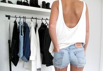 edgy free spirit shirt white tank top shorts tank top low back blouse backless
