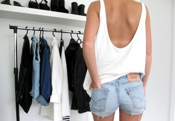 backless blouse edgy free spirit white tank top shorts tank top low back