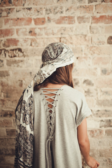 dress shirt dress vintage lace up grey lenni lenni the label tee tee dress back detail detail model lookbook